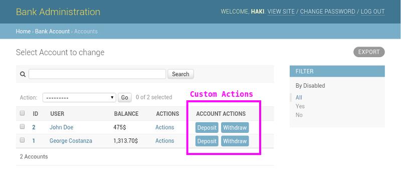 Django Admin interface with custom action buttons