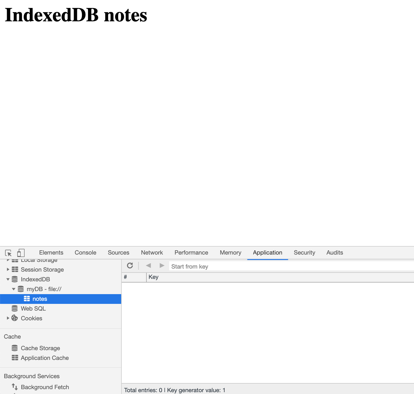 Screenshot of our IndexedDB panel with our database and object store created