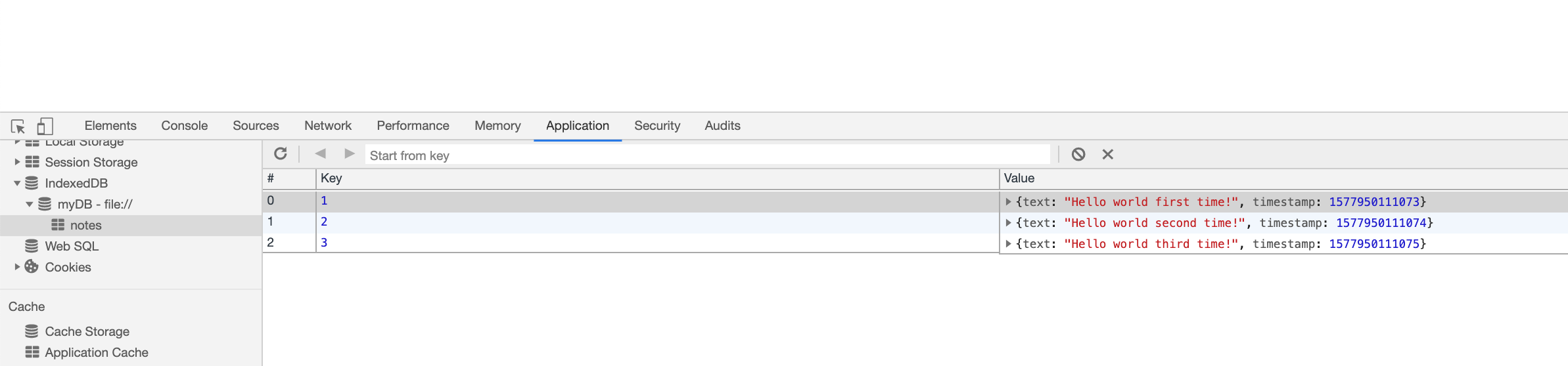 Screenshot of our IndexedDB panel with our objects stored