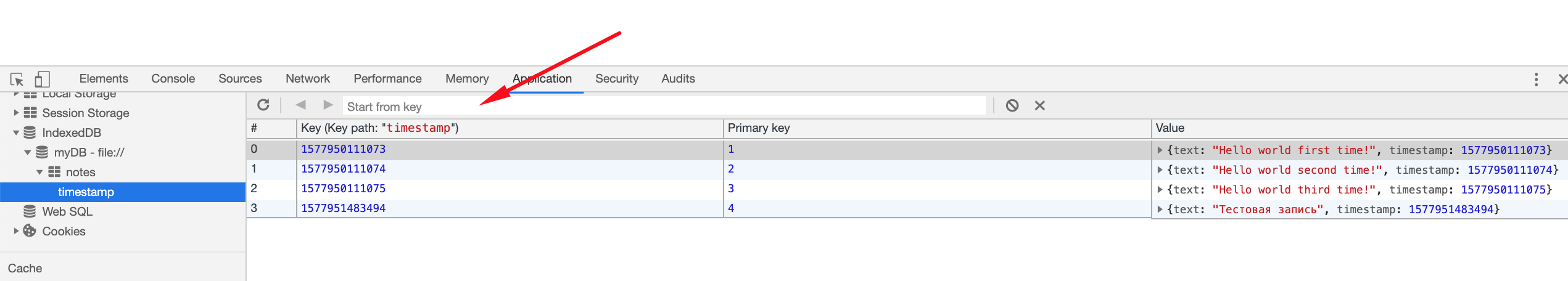 Screenshot of the IndexedDB panel in developer tools, looking at an index in IndexedDB. The timestamps of our sticky notes serve as keys. Indices in IndexedDB are listed in the panel under their object store.